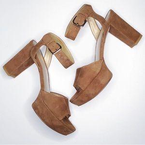 Stuart Weitzman Suede RealDeal Sandal Camel S 7M